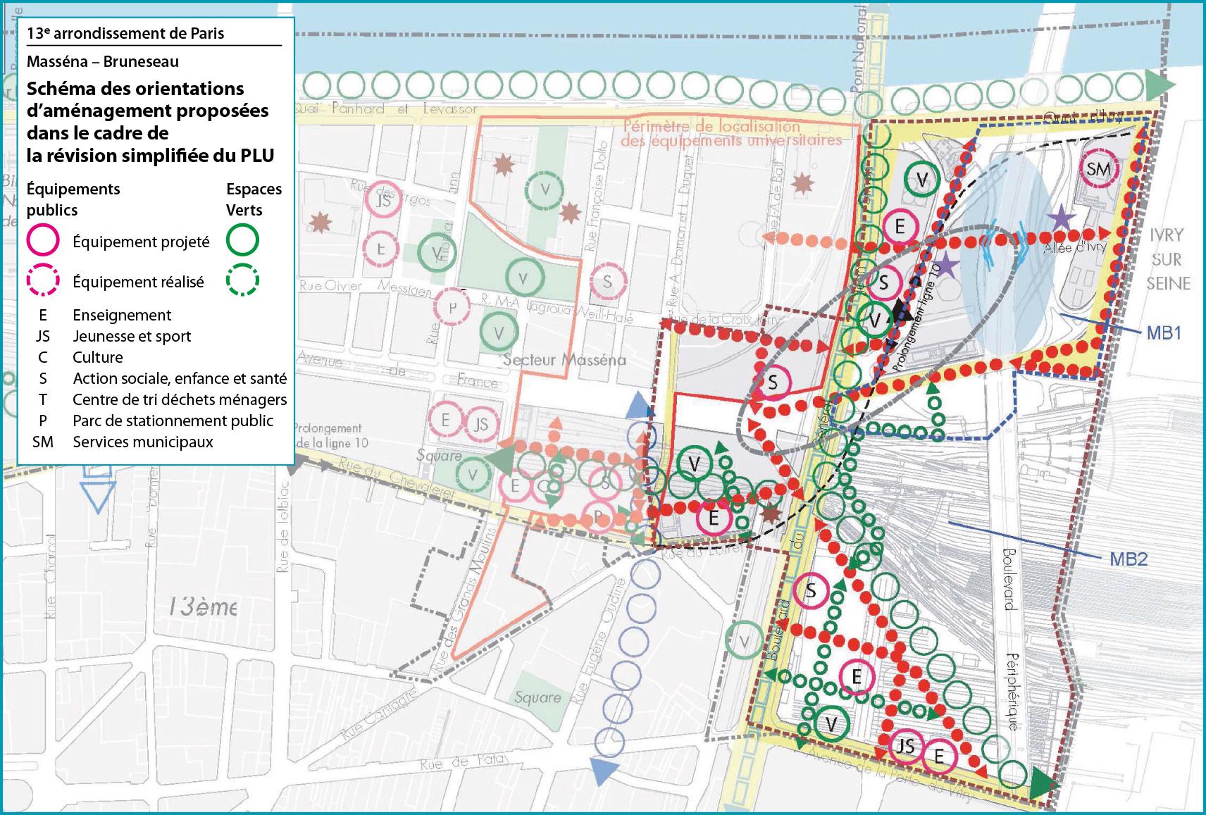 Schéma des orientations d'aménagement proposés dans le cadre de la révision simplifiée du PLU