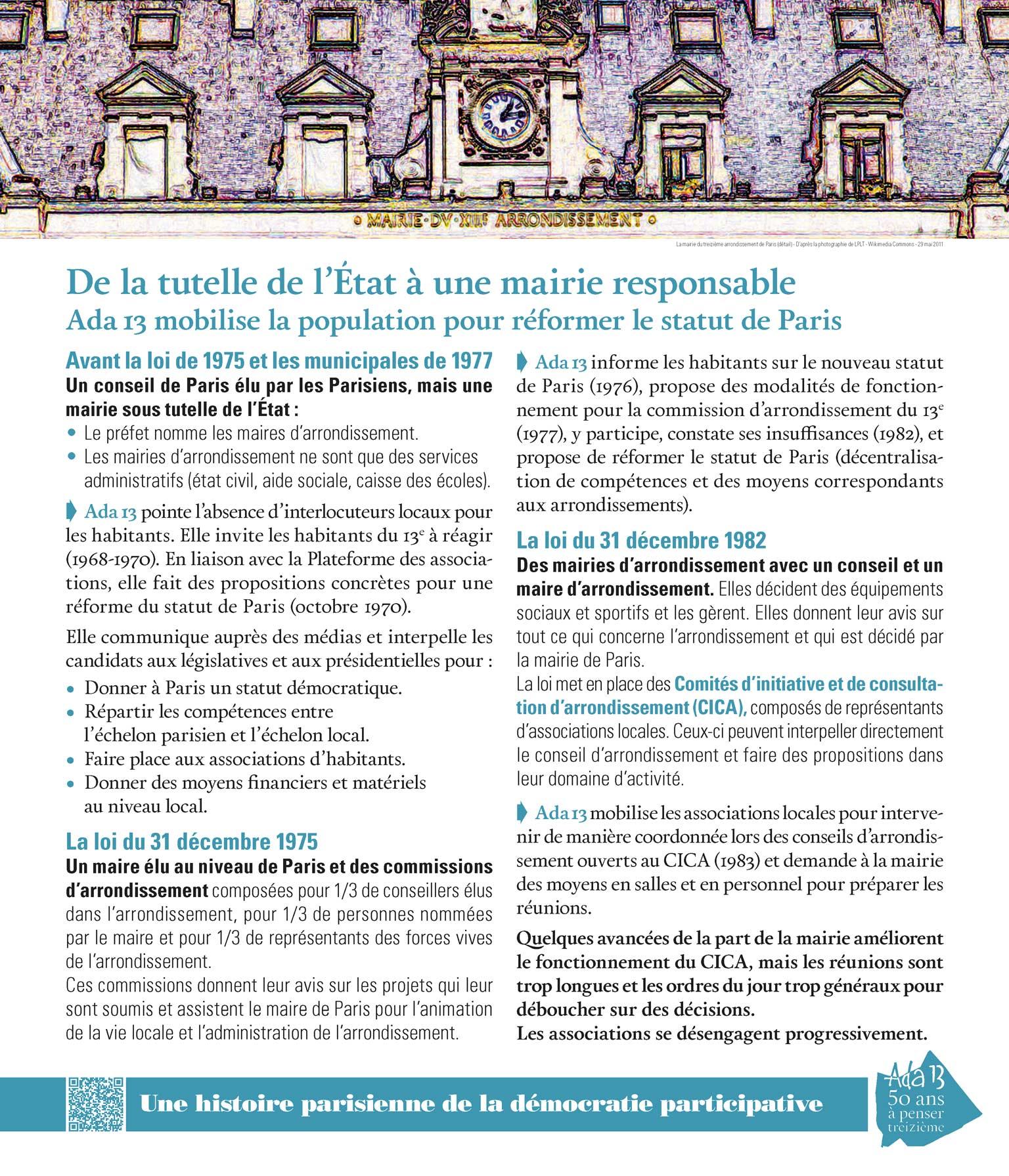 Panneau d'exposition | De la tutelle de l'État à une mairie responsable. Ada13 mobilise la population pour réformer le statut de Paris