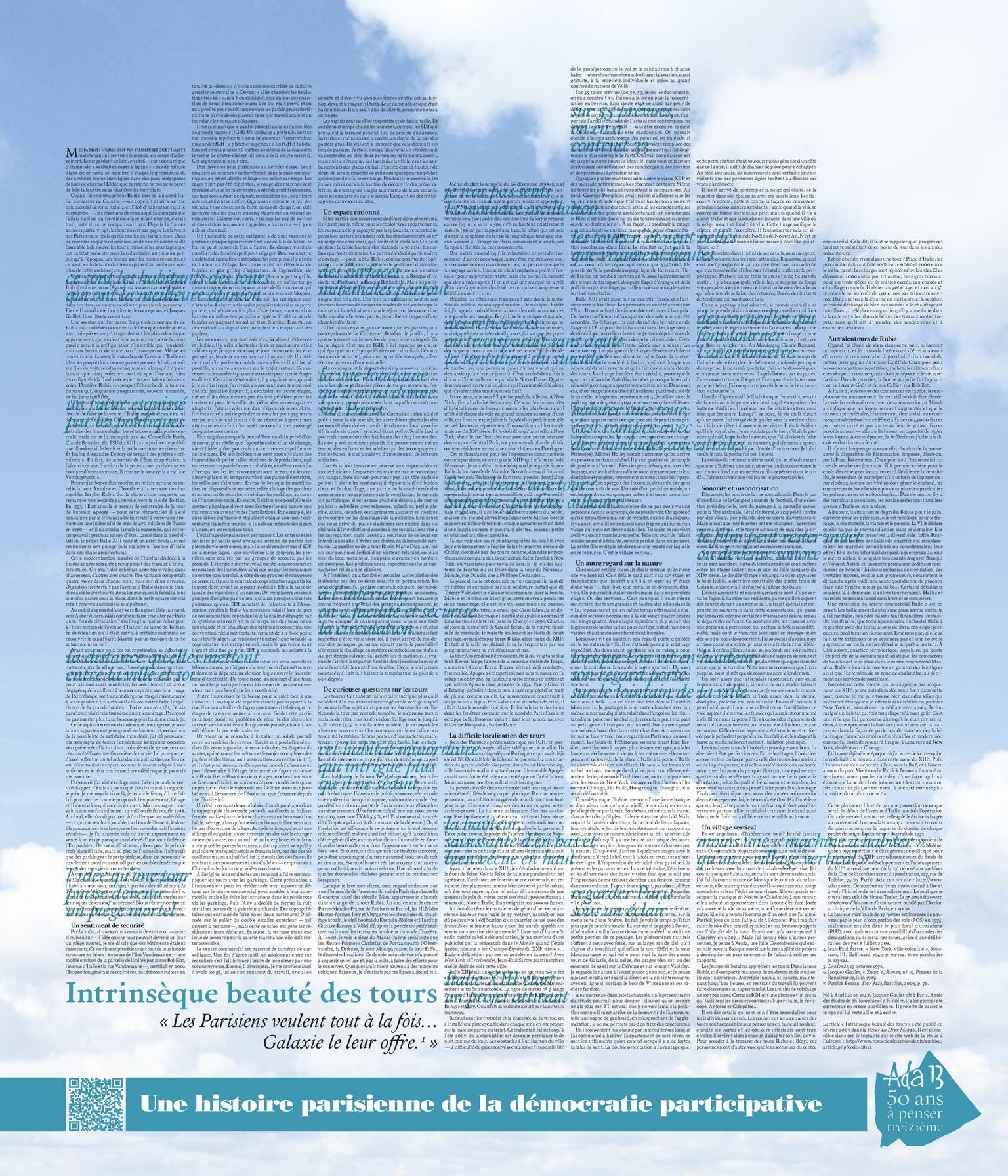 Panneau d'exposition | Intrinsèque beauté des tours (texte de Jacques Goulet)