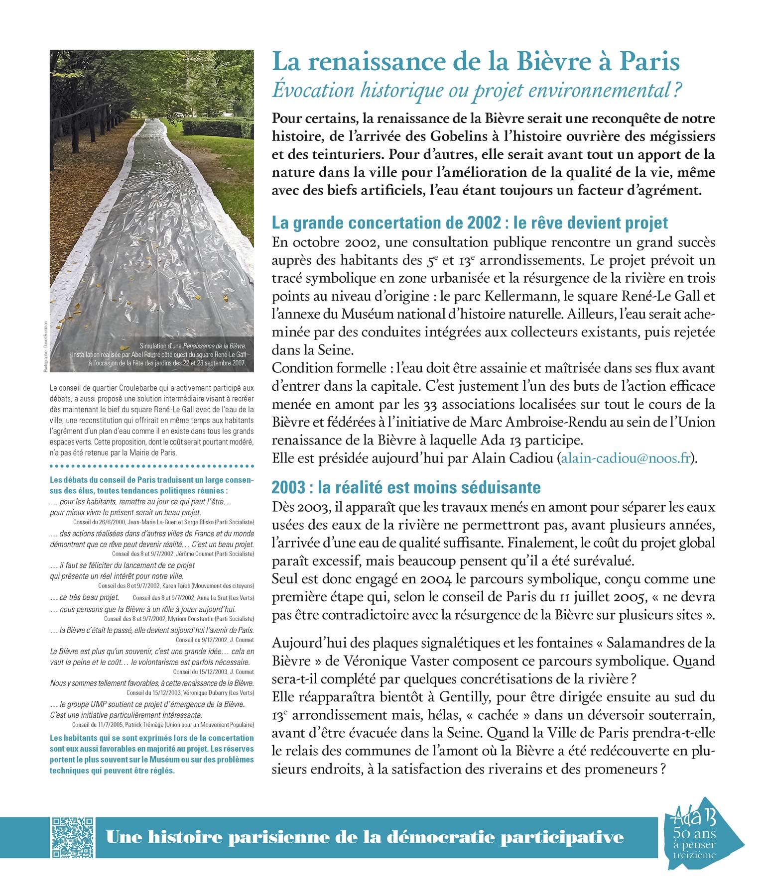 Panneau d'exposition | La renaissance de la Bièvre à Paris. Évocation historique ou projet environnemental?
